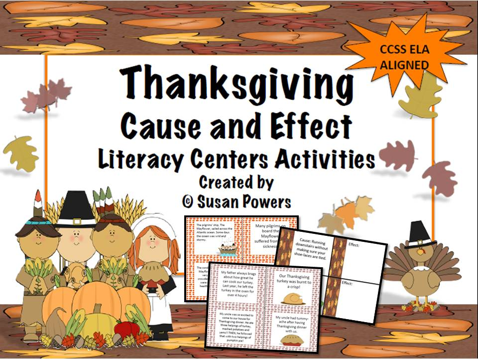 Thanksgiving Cause and Effect Literacy Task Cards Activities