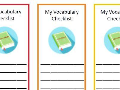 My Vocabulary Checklist Bookmark