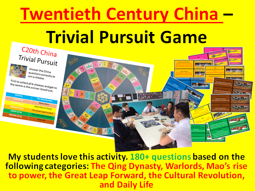 Twentieth Century China – Trivial Pursuit Revision Activity (180+ questions)