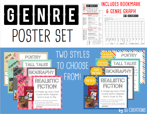Genre Posters, Bookmark, and Graph