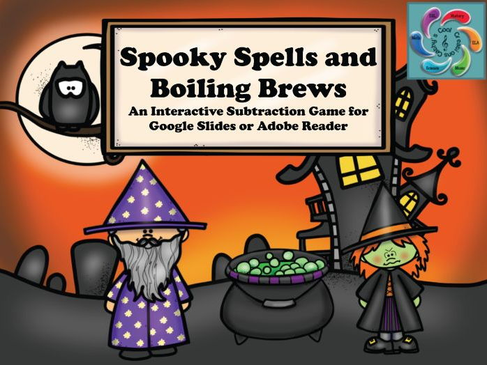 Interactive Math game-Google Slides / Adobe PDF-Subtraction Spooky Spells & Boiling Brews