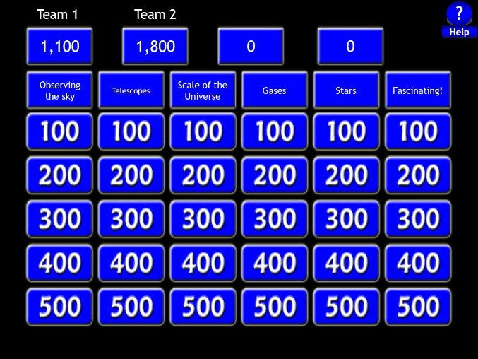 GCSE - Observing the Universe - Jeopardy Revision Game