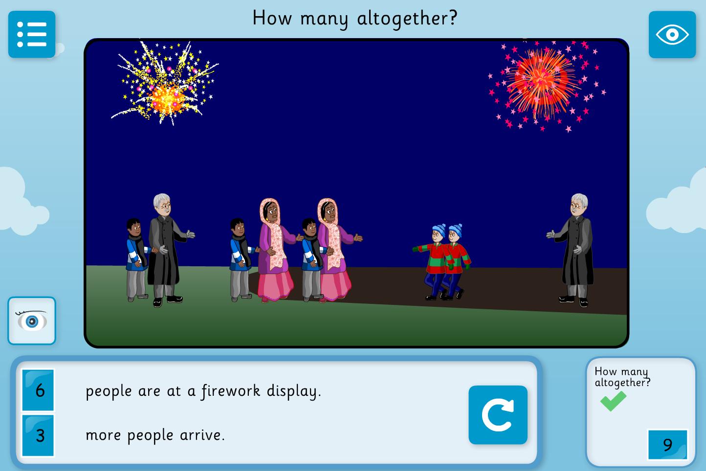 Addition Story Interactive Activity -  Firework Maths - Bonfire Night KS1