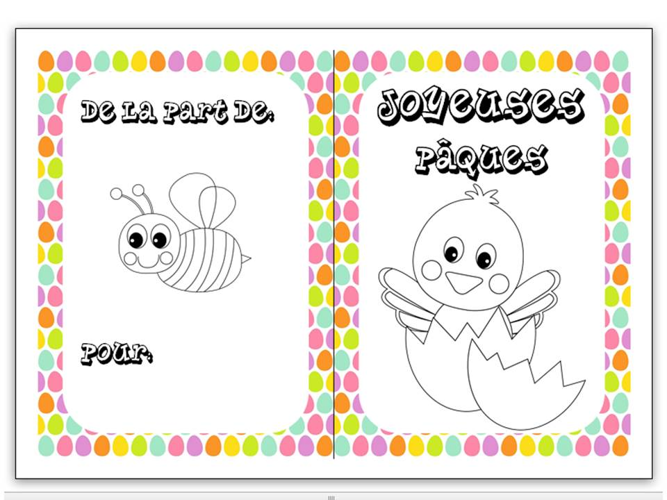 Easter colouring cards in French 6