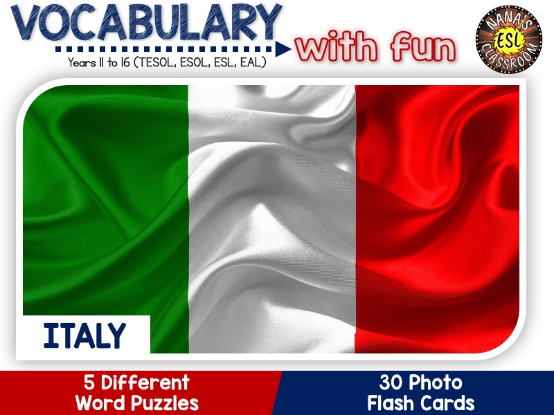 Italy - Country Symbols: 5 Different Word puzzles and 30 Photo flash cards (ESL, ELA, ELL, TESOL)