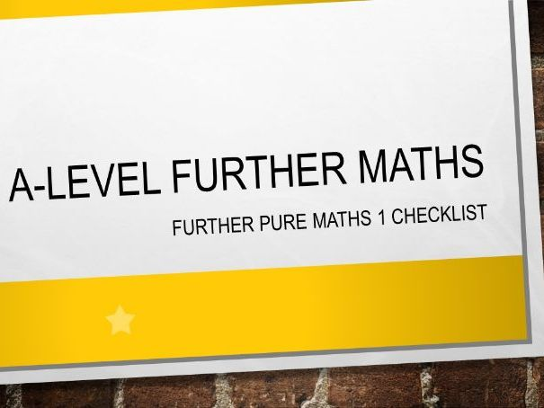 A-Level Further Maths (2017) Further Pure Maths 1 Checklist