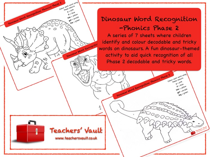 Dinosaur Word Recognition -Phonics Phase 2