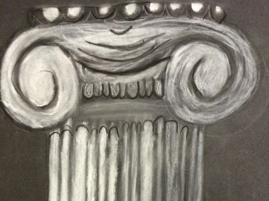 Greek and Roman Columns in charcoal and chalk