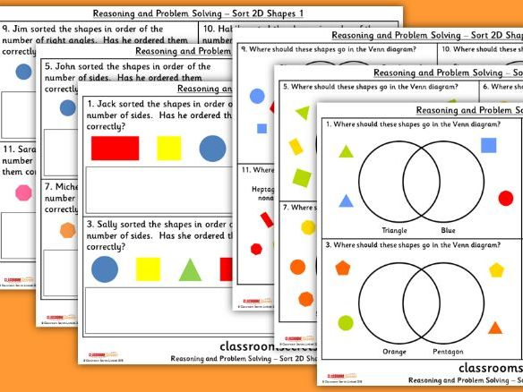 year 2 sort 2d shapes wrm spring block 3 reasoning and problem solving pack
