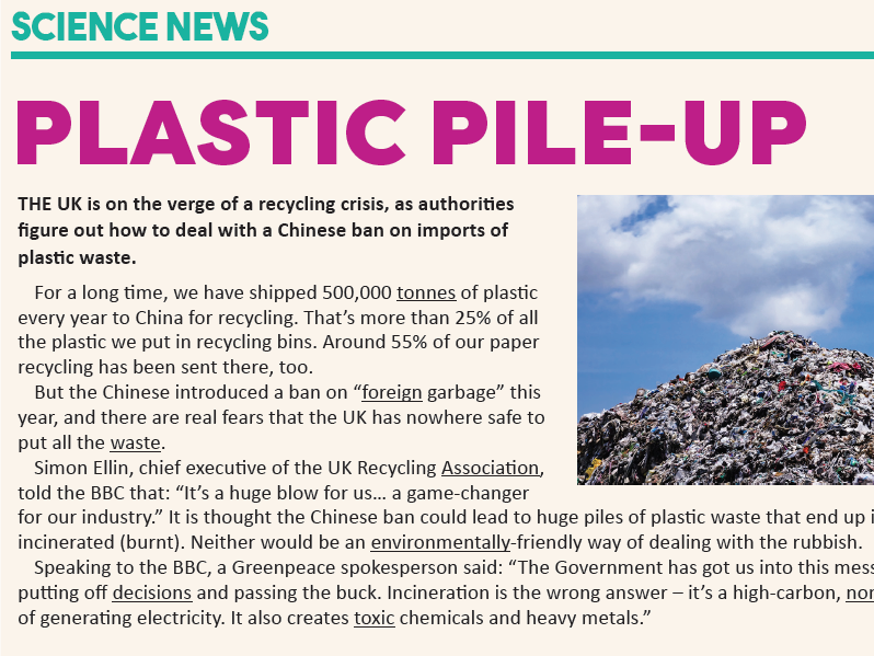 KS3 News Crossword:  Plastic recycling crisis