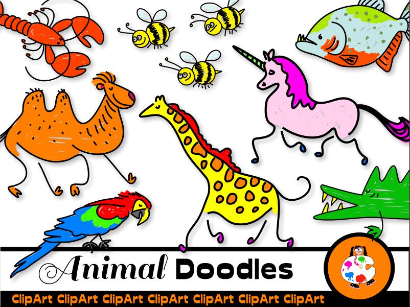 Doodle Animal Mega Clip Art Pack