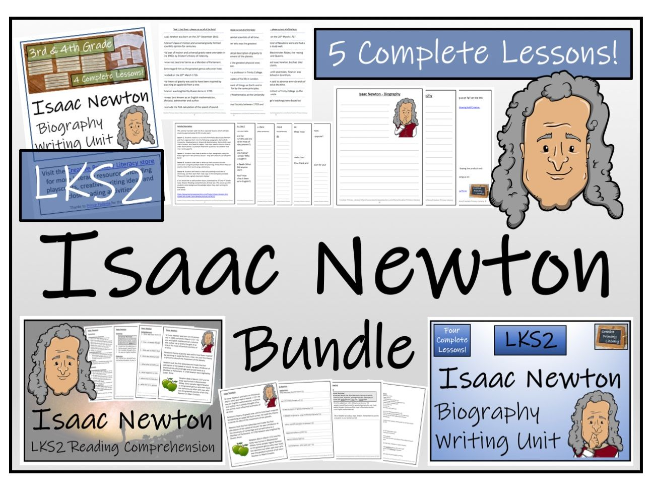 LKS2 Science - Isaac Newton Reading Comprehension & Biography Writing Bundle
