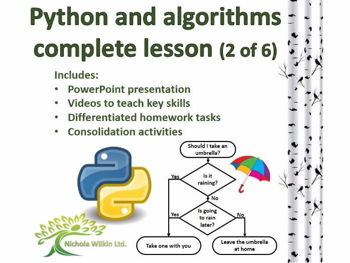 Python and Algorithms Complete Lesson 2 of 6 (GCSE Computer Science and KS3 Computing)