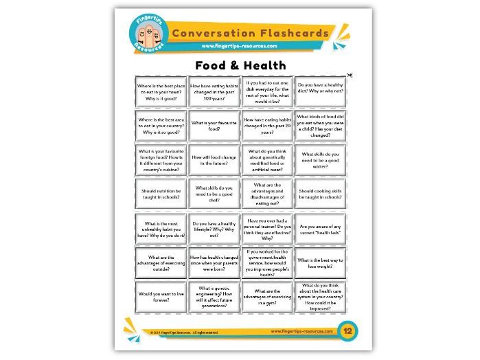 Food & Health - Conversation Flashcards