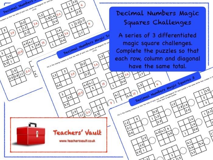 Decimal Numbers Magic Squares Challenges