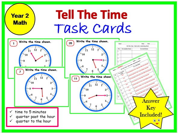 Tell the time- Yr 2 Task card and Worksheet