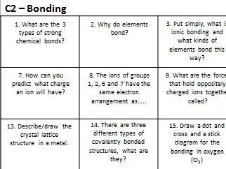 Bonding, structure and the properties of matter question grid - AQA Comb. Sci. Chem.