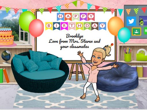 Bitmoji Virtual Classroom - Birthdays