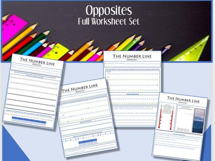 The Number Line (Part 1):  Opposites FULL WORKSHEET SET