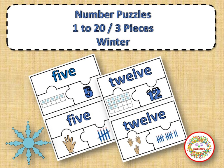 Number Puzzles 1 - 20 - Winter Theme - 3 Puzzle Pieces