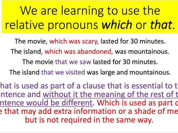 Relative Pronouns WHICH / THAT