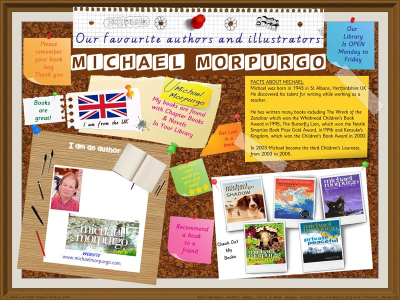 Library Poster - Michael Morpurgo Author Of Chapter Books & Novels