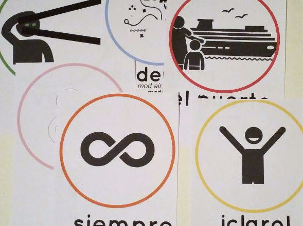 A set of clear colured flash cards/ dispaly posters on the subject of Mi Ciudad