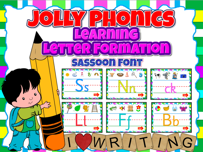 Phonics Learning Letter Formation Animated PPT w/ Sounds Effects-Sassoon (Jolly Phonics)