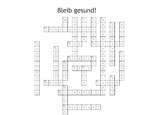 Bleib gesund! - Crossword
