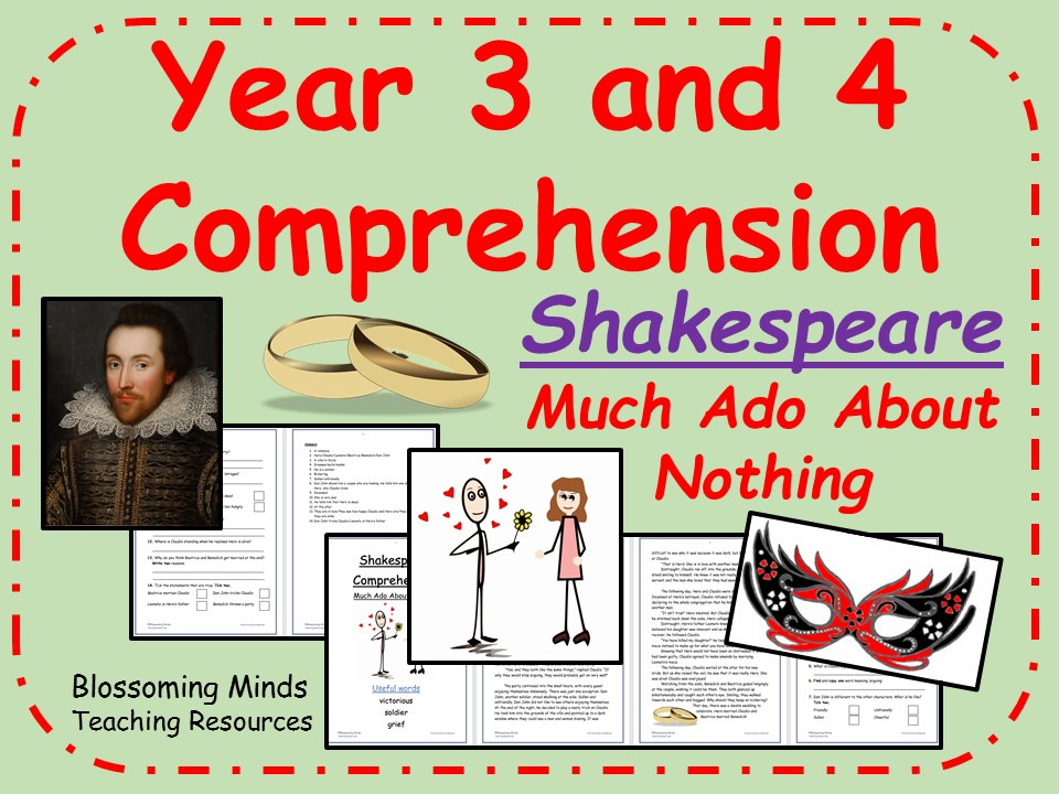 Year 3 and 4 Reading Comprehension - Much Ado About Nothing (Shakespeare Week)