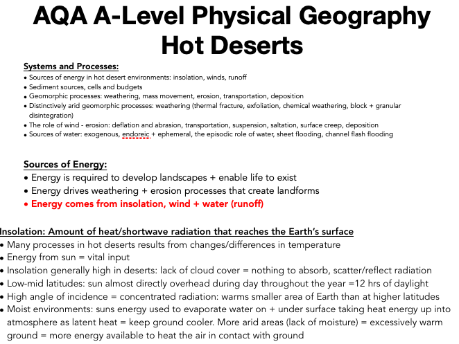 AQA A Level Geography: Hot Deserts - Systems and Processes