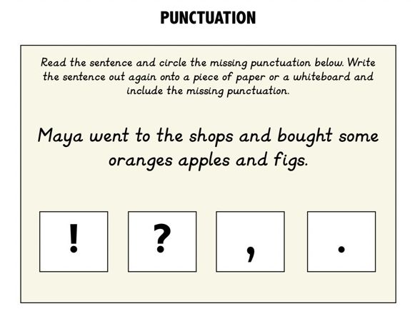 KS1 Punctuation Flashcards