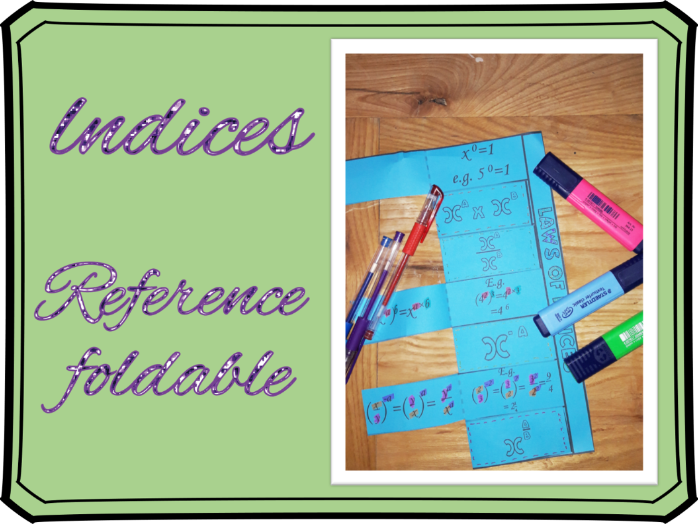 Indices: Laws of indices foldable reference/revision