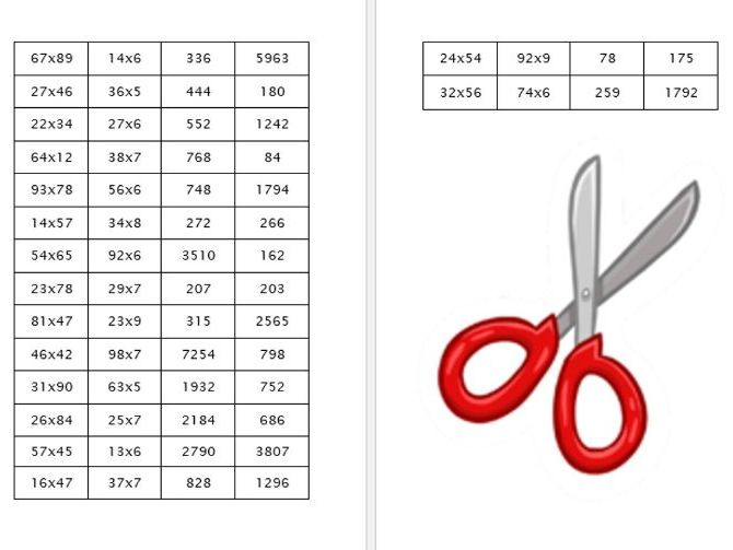 Maths Multiplication Problems - Cut and stick