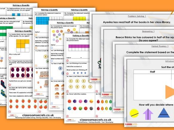 Year 1 Halving a Quantity Summer Block 2 Maths Lesson Pack
