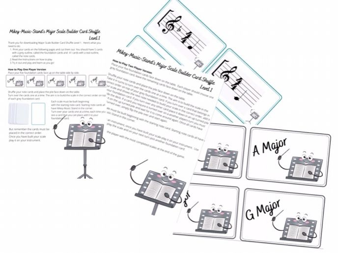 Mikey Music Stand Scale Builder Card Game Level 1, music theory games