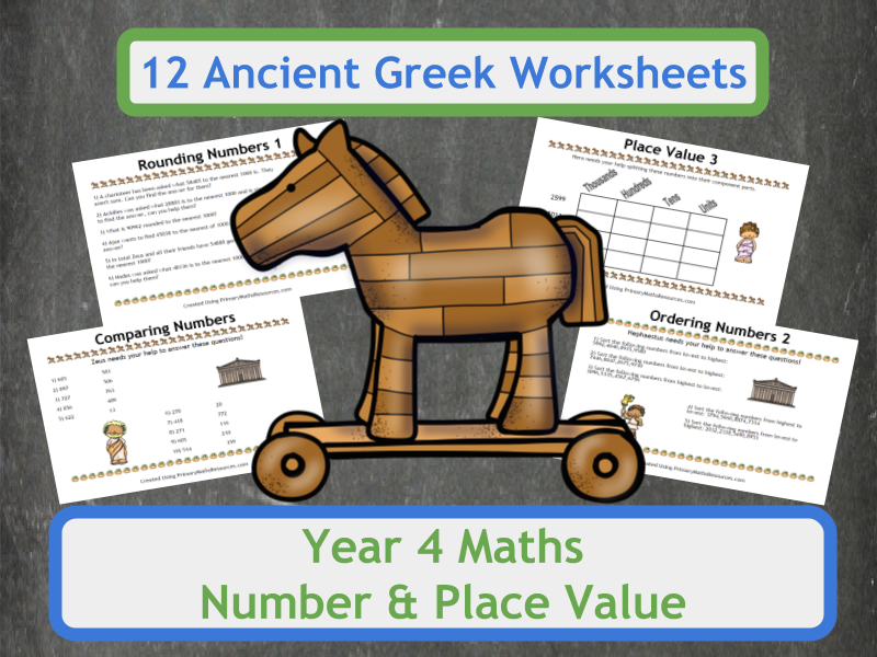 Number and Place Value Worksheets with an Ancient Greek Theme for Year 4 Classes