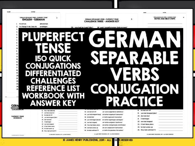 GERMAN SEPARABLE VERBS CONJUGATION PRACTICE #6