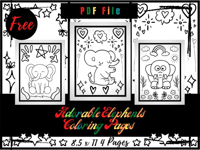 FREE Adorable Elephants Colouring Pages, Free Printable Animals Colouring Sheets PDF