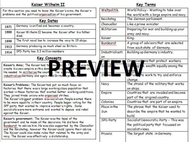 GCSE Nazi Germany Knowledge Organiser (Kaiser Wilhelm)