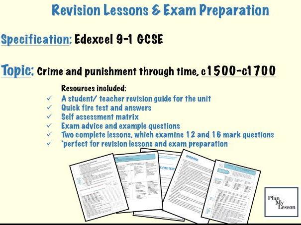 Edexcel 9-1 GCSE Crime and punishment through time, c1500 - c1700 revision pack