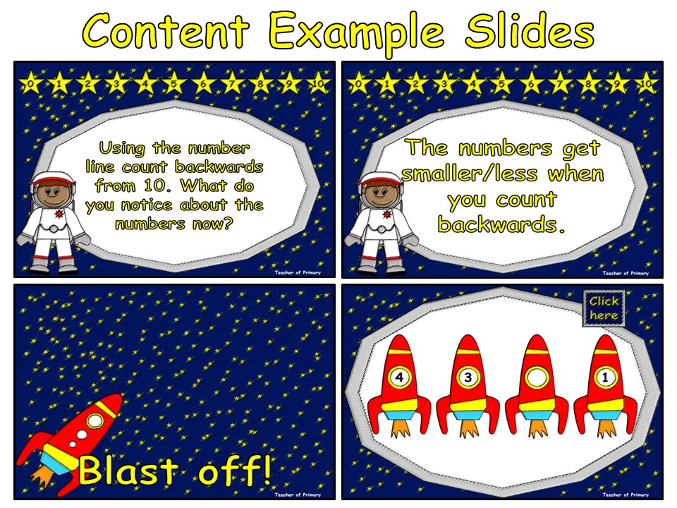 Counting Backwards from 10 - Animated PowerPoint presentation and worksheet