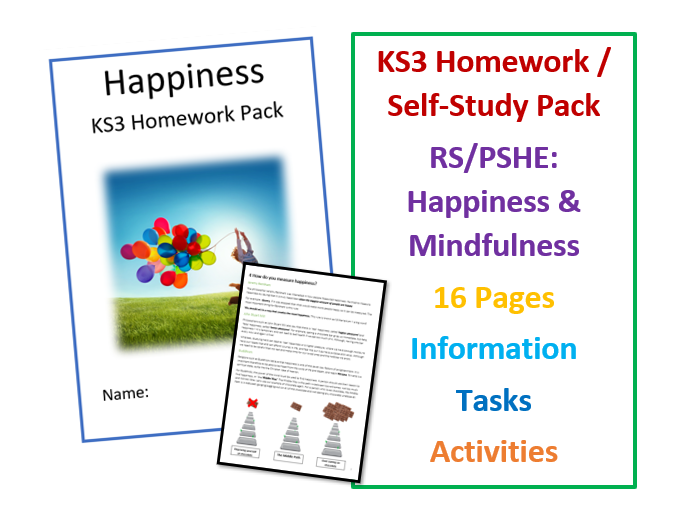 KS3 RS and PSHE Happiness Workbook for Self-Study