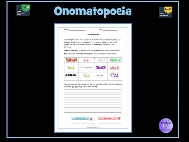 Onomatopoeia Worksheet