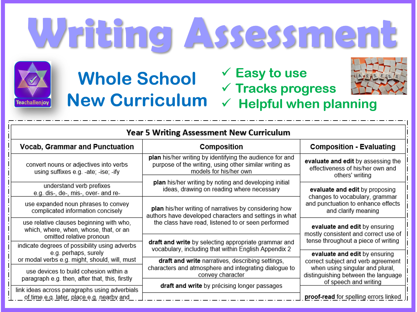 Whole School Writing Assessment Sheets