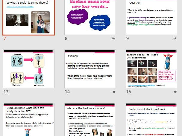 SOCIAL LEARNING THEORY Approach - AQA Psychology - Full Lesson Resources