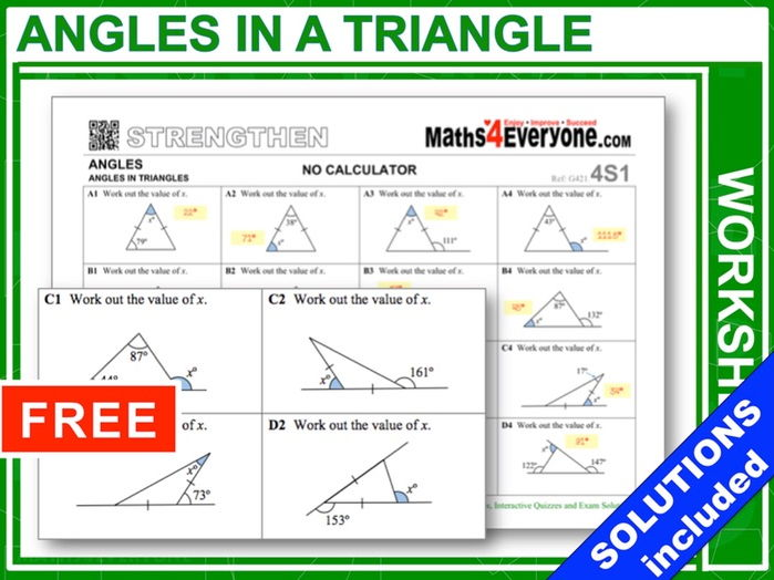 Angles In Triangles Worksheets With Answers By Maths4everyone
