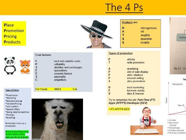 The 4 Ps revision sheet