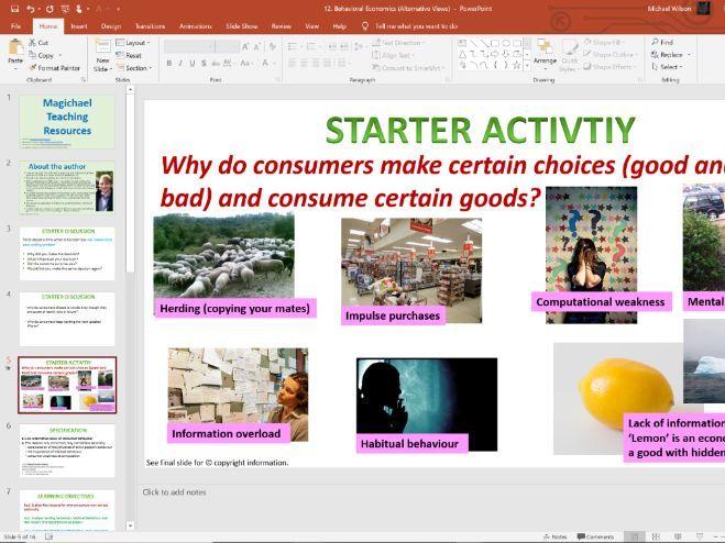 12. Behavioral Economics -  (Slides, Activities and Notes)- Edexcel A-Level Economics - Theme 1