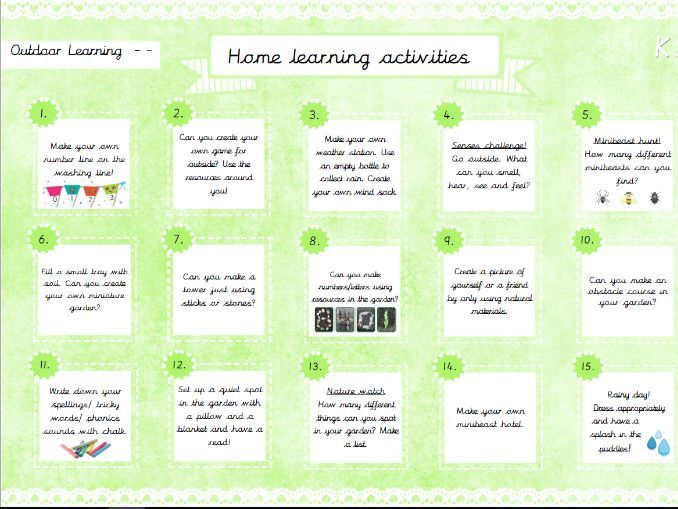 Home Learning Activities- Outdoor Learning